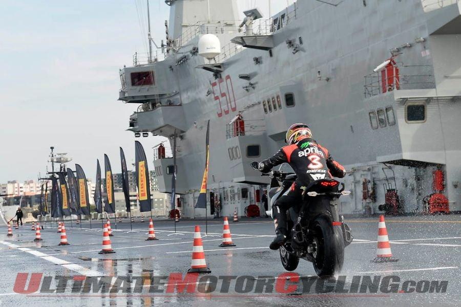 Max Biaggi testing Pirelli Angel GT Tires on Italian Navy Ship