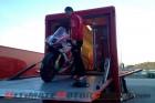 Ducati Alstare Team member unloading Badovini's 1199 Panigale RS13