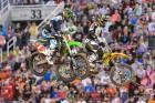 Rockstar Energy Suzuki's Davi Millsaps leads Monster Energy Kawasaki's Ryan Villopoto at Salt Lake City SX