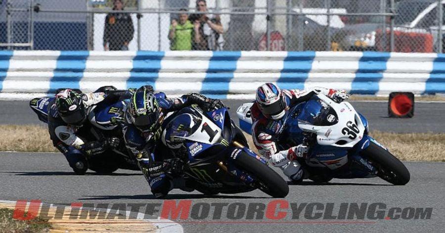 Yamaha's Josh Hayes leads Suzuki's Martin Cardenas and John Herrin