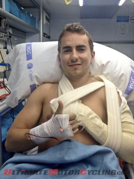 Yamaha's Jorge Lorenzo following shoulder surgery