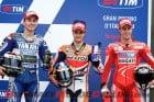 The front row for Mugello MotoGP
