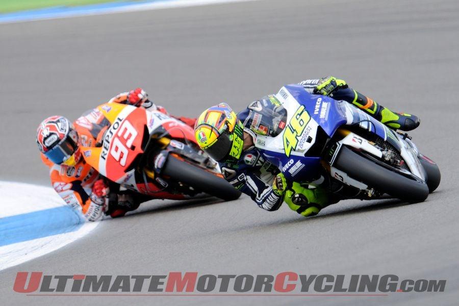 Yamaha's Valentino Rossi leads Repsol Honda's Marc Marquez at Assen MotoGP
