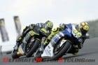 Yamaha Factory Racing's Valentino Rossi leads Monster Tech 3 Yamaha's Cal Crutchlow