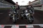 2014 Aprilia Tuono V4 R ABS with World Superbike's Eugene Laverty and Sylvain Guintoli