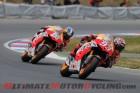 Repsol Honda's Marc Marquez leads teammate Dani Pedrosa