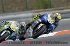 Yamaha Factory Racing's Valentino Rossi leads GO&FUN Honda Gresini's Alvaro Bautista