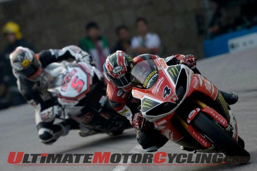 Milwaukee Yamaha's Ian Hutchinson leads SMT Honda's Michael Rutter