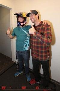 FMX: Travis Pastrana Presents Helmet to Luc Ackermann