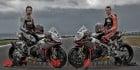 Sylvain Guintoli and Marco Melandri aboard their Aprilia RSV4 superbikes