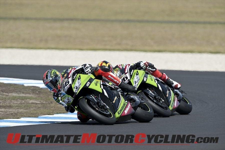 Kawasaki Racing's Tom Sykes leads teammate Loris Baz at last year's Phillip Island SBK round.