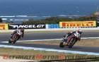 Aprilia Racing Team's Marco Melandri leads teammate Sylvain Guintoli