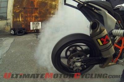 KTM Stunt Motorcyclist Rok Bagoros Creates Burnout Art | Video