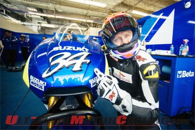 Kevin Schwantz Pilots Suzuki MotoGP Prototype During Austin Test
