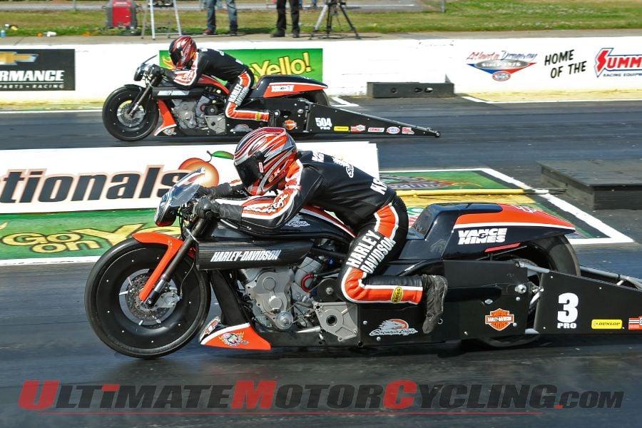 Harley's Krawiece Dominates Atlanta NHRA Pro Stock Motorcycle