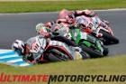 World Superbike racers Leon Haslam, Jonathan Rea, Chas Davies and Michael van der Mark