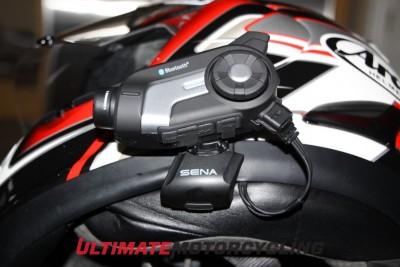 Sena 10C communicator and video combo side close up