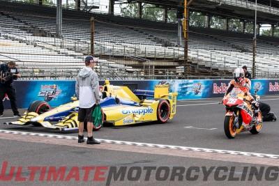 MotoGP Vs. IndyCar   Pedrosa & Andretti Duel at Indianapolis start race