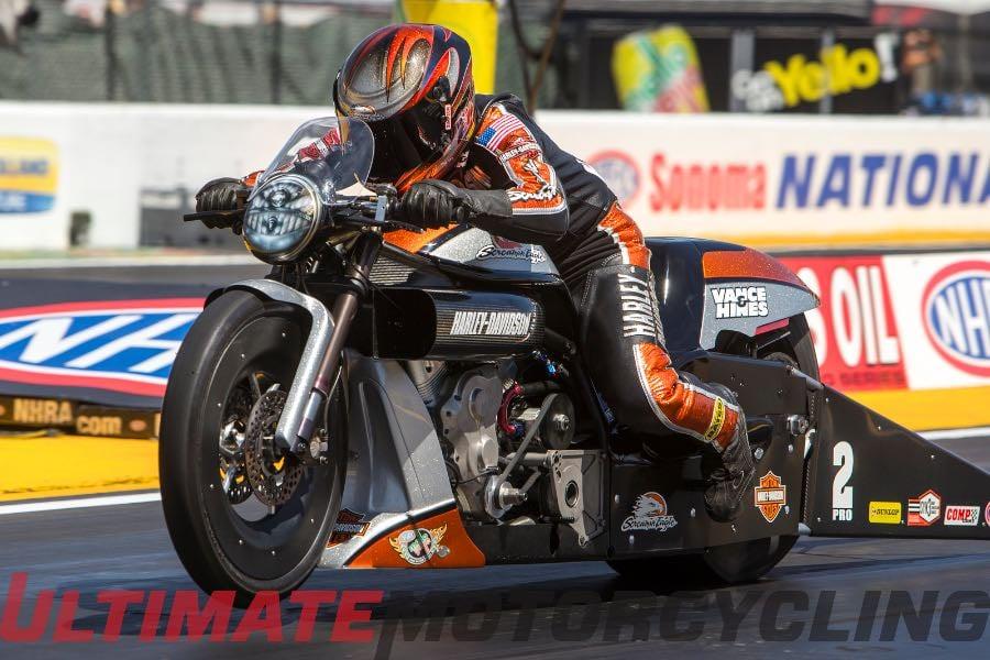 2015 Sonoma NHRA Pro Stock Motorcycle   Harley's Krawiec Sweeps Round