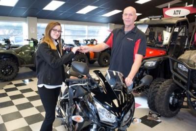 Stevie Pescarino's new Honda CBR300R came from Performance Honda in Wesley Chapel.