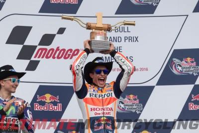 2016 Austin MotoGP Circuit of the Americas Marquez collects trophy
