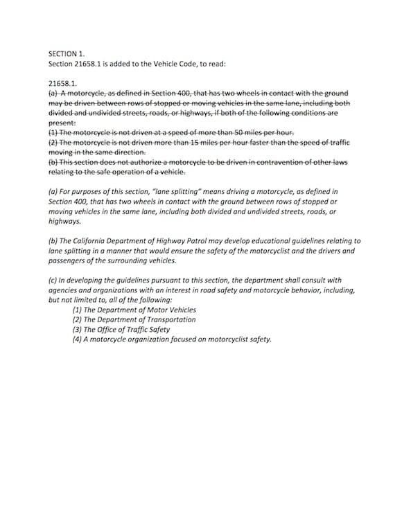 lane splitting bill amended california ab 51