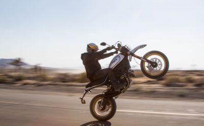 2017 Ducati Scrambler Desert Sled wheelies