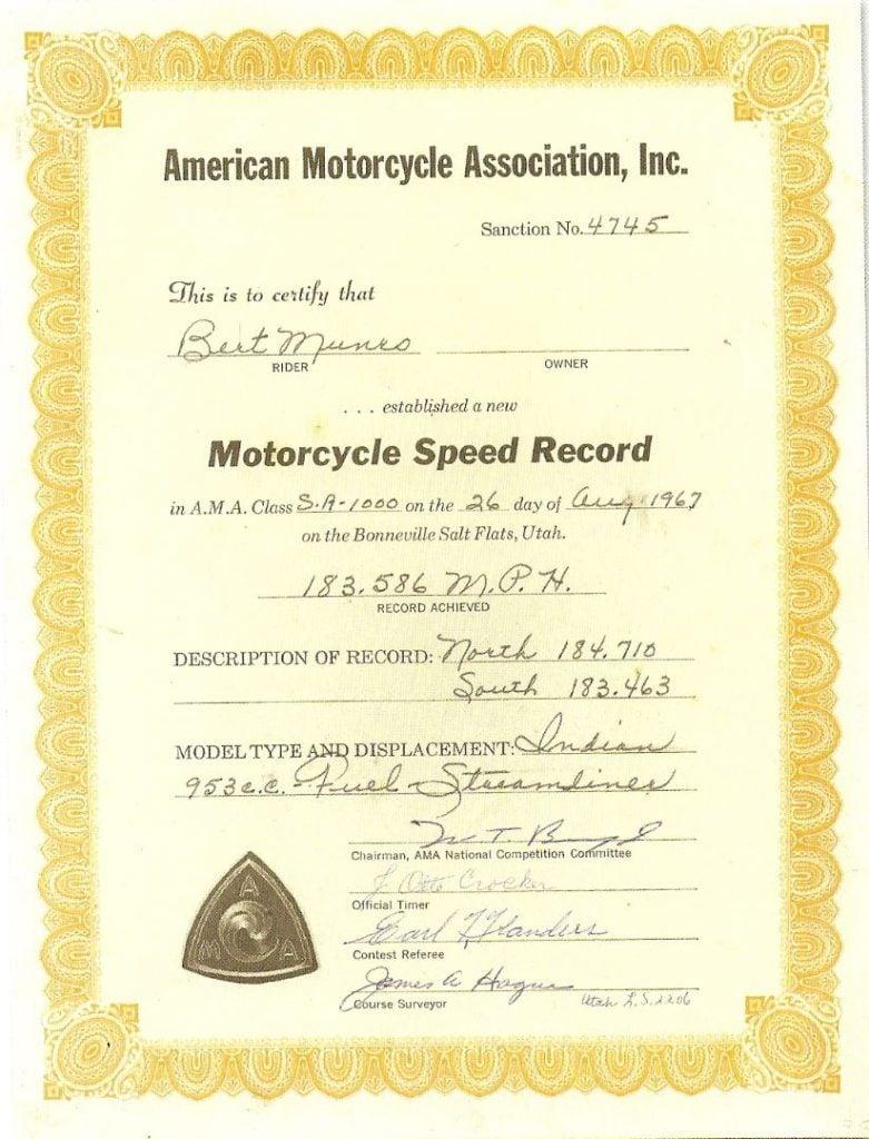 Burt Munro AMA Motorcycle Speed Record