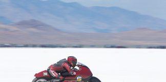 Lee Munro at Speed aboard 50th Anniversary Burt Munro Salt Flat Runs