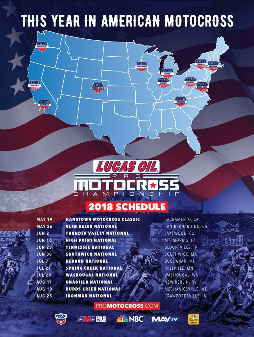2018 Lucas Oil Pro Motocross Schedule