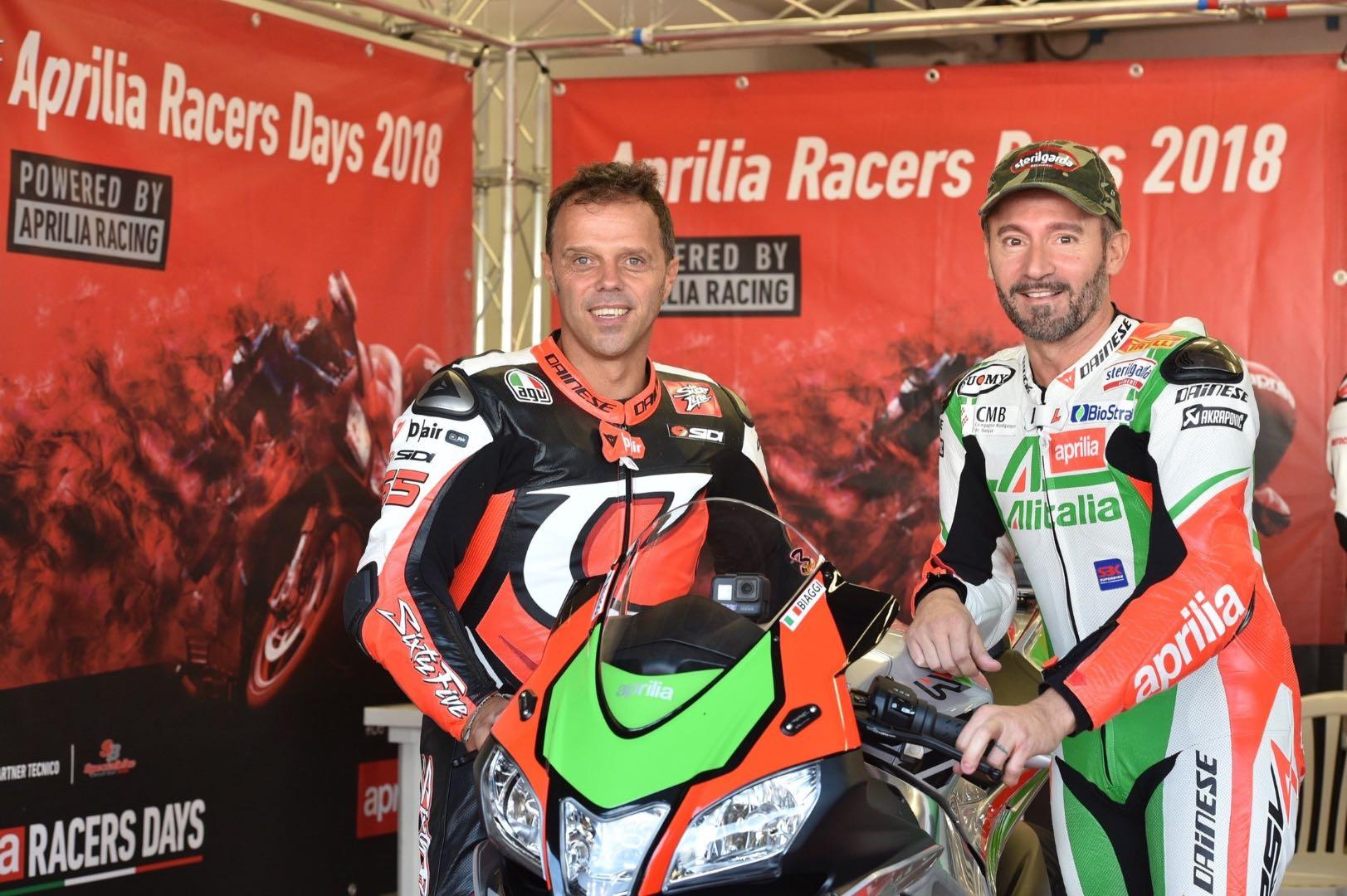 Loris Capirossi and Max Biaggi at Mugello Aprilia Racer Days