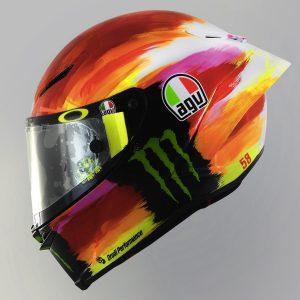 Valentino Rossi and AGV Reveal 2019 Mugello Pista GP R Helmet - red orange purple white side