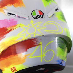 Valentino Rossi and AGV Reveal 2019 Mugello Pista GP R Helmet - rear detail 46 sun moon