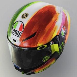 Valentino Rossi and AGV Reveal 2019 Mugello Pista GP R Helmet - top 3/4 left