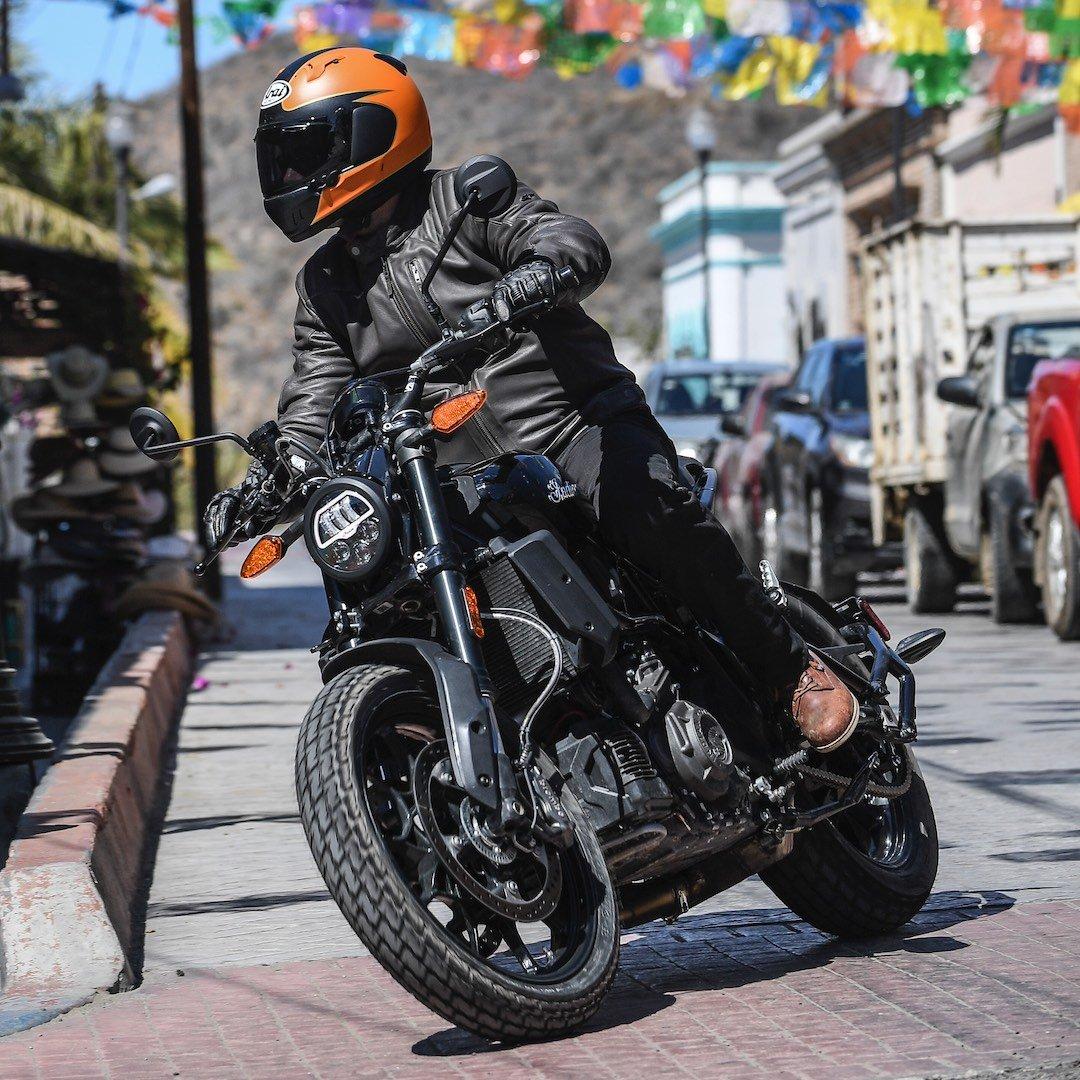 Oscar Crazy Eight Leather Street Motorcycle Riding Glove M, Black Black