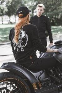 Pando Moto Kissaki Black Women's Jeans on Motorcycle